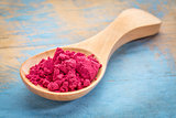 spoon of aronia berry powder