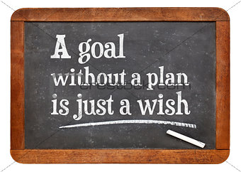 A goal without plan is just a wish