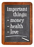 Money, health and love