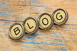 blog word in typewriter keys