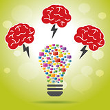 Brainstorm idea creative brain, lightning and lamp.