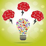 Brainstorm idea creative brain, lightning and lamp.