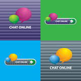 Button of chat online for communication internet