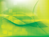 Technology background green futuristic abstract with bright lights.