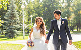 Wedding couple holding hands outdoors