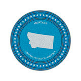 Label with map of montana. Denim style.