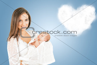 Portrait of mother with newborn baby  with cloud background