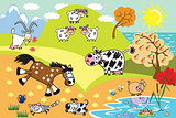 cartoon domestic animals illustration