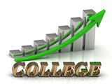 COLLEGE- inscription of gold letters and Graphic growth