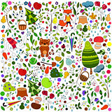 floral forest background with doodles for textile print