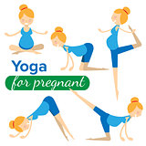 set illustrations of simple yoga poses for pregnant woman