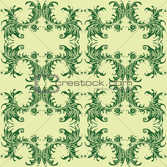 green abstract flowers in a retro style on a light background seamless pattern vector illustration