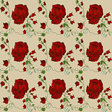 red roses on a light background seamless pattern vector illustration