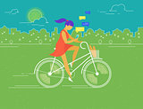 Young woman rides white outlined bicycle