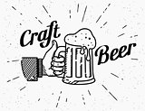 Thumbs up symbol icon with craft beer mug