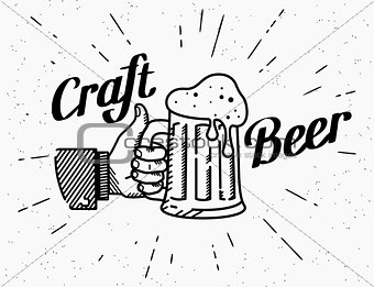 Thumbs up symbol icon with craft beer mug