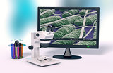 microscope, concept of scientific research and new technologies