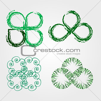 Beautiful green leaves stylized with organic lines
