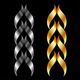 Design element in gold and silver