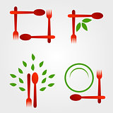Set of logos for organic cuisine