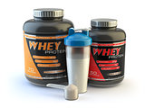 Sport nutrition, whey protein powder for bodybuilding with plast