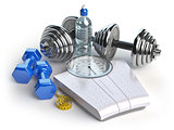 Fitness and weight loss concept. Weight scales, dumbbells and me