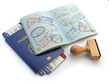 Opened passport with visa stamps and airline boading pass ticket