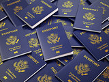 USA passport background. Immigration or travel concept.