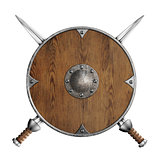 old wooden round shield and two crossed swords