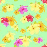 beautiful hibiscus flower on green. vector illustration seamless