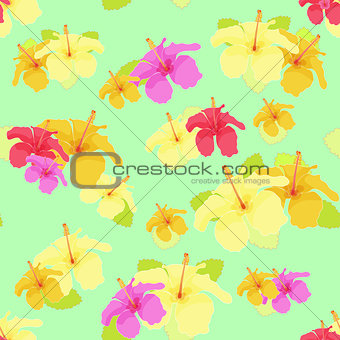 beautiful hibiscus flower on green. vector illustration seamless