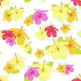 beautiful hibiscus flower on white. vector illustration seamless