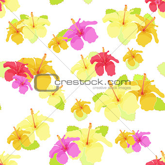 beautiful hibiscus flower on white. vector illustration seamless