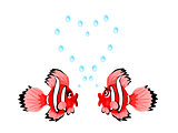 Fish Couple with Heart Bubbles