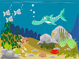 Prehistoric Fish and Shark Swimming