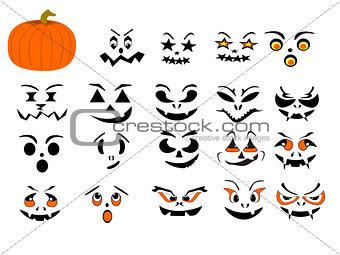 Single Pumpkin Optional Halloween Faces