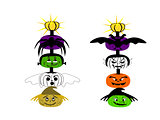 Halloween Totem Pole Faces