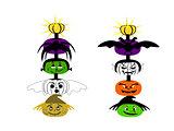 Halloween Totem Pole Faces