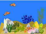 Ocean Underwater Scene with Clown Fish