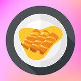 Crepes pancakes honey syrup flat.