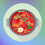 vegetable beet soup borsch flat