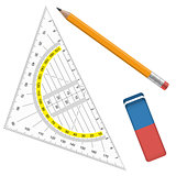 pencil, eraser and protractor