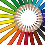 circle of colored pencils