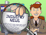 Industry News through Lens. Doodle Concept.