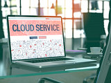 Laptop Screen with Cloud Service Concept.