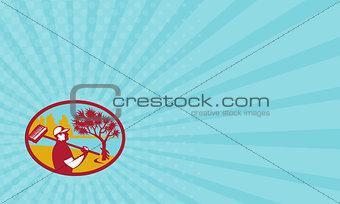 Business card Cleaner Pandanus Tree Coast Oval Retro