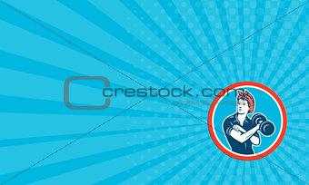 Business card Bandana Woman Lifting Dumbbell Circle Retro