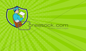 Business card Mailman Deliver Letter Crest Cartoon