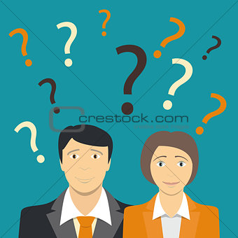 Businessman and Businesswoman Does not Know What to Do, Business