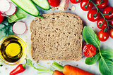 Slice of a whole wheat bread and healthy food